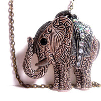 Royal Family Jeweled Elephant Necklace  by FashionCrashJewelry