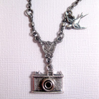 Elegant Camera Bird Charm Necklace by FashionCrashJewelry on Etsy