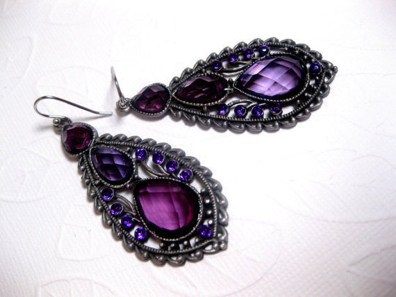 Purple Petal Gypsy Earrings  Purple Crystal by FashionCrashJewelry
