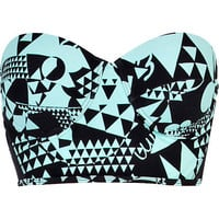 Aqua print bustier bikini top