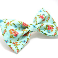 Light Blue Floral Hair Bow Barrette