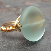 Aqua Sea Glass Ring  Gold Wire Wrapped Ring  by SherryKayDesigns