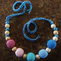 Crochet  and Natural, Unfinished Wood Bead Teething Necklace