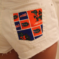 Florida Gators white cut off shorts by p4pministry on Etsy