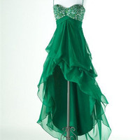 Dear4you — Alluring A-line Spaghetti Straps High-Low Prom Dress with Sequins