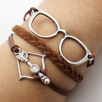 Glasses Bow Arrow Bracelet Antique Silver Brown Bracelet Cute Bracelet Gift Bracelet