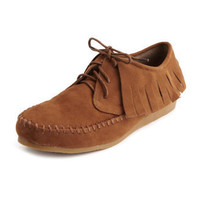 Charlotte Russe Sudeded Lace-Up Moccasin