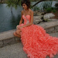 Orange Ball Gown Sweetheart High-low Asymmetrical Prom Dress