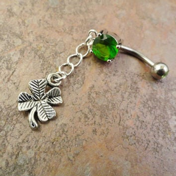 Four Leaf Clover Belly Button Ring Green Shamrock by MidnightsMojo