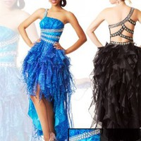 High-low Floor Length One-shoulder Dress With Sequins Blue Black 1229