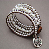 Southern Girls Wear Pearls - Leather Beaded Cuff Bohemian Bracelet - Minali