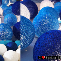 Blue tone Color Set Cotton Ball String Lights For Wedding and House decoration (20 Balls /Set)
