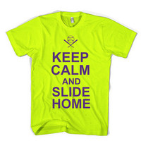 KEEP CALM and SLIDE HOME SOFTBALL flourescent yellow with purple t-shirt NWOT