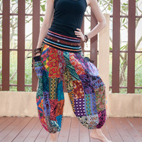 Unique Patchwork Colorful Cotton Pants with Cuff Legs Persian Style Trousers (JP-5)