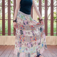 Unique Nepali Patchwork Gypsy Heavy Weight Long Skirt with Rope-like Stitches Hippie Boho (SK-43)