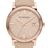 Burberry Check Stamped Round Dial Watch, 38mm (Regular Retail Price: $495)