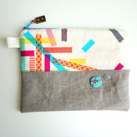 Washi Tape Zippered Pouch with Cassette Tape Zipper Pull by handmadephilosophy