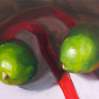 Limes Ribbons and Shadows 5 x 7 Original Oil by LittletonStudio
