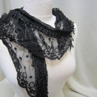 NEW Simple and Elegant BLACK lace  embroiderd netting scarf scarves women stocking stuffers gifts under 20 by Catherine Cole Studio