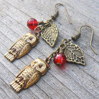 Owl earrings with leaf and berry antiqued by GoddessJewelsUK