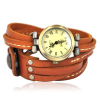 Light Brown Leather Watch Wrap Watch