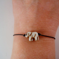 Leather Friendship Bracelet with Czech Glass Elephant by PZWDesign