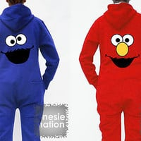 COOKIE MONSTER & ELMO Onesie Nation All in One Sesame Street Hoodie Top T shirt