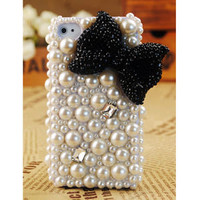 Apple iPhone4S 4G 3GS Pearl Black Bow Case Cover - GULLEITRUSTMART.COM