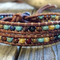 SALE 20% off Southwest Chic Mosaic Double Leather Wrap Bracelet, Chan Luu