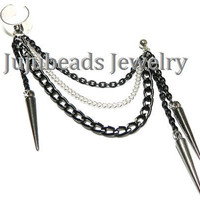Im Ready For It  Black Spikes Chain Ear Cuff by jujubee4 on Etsy