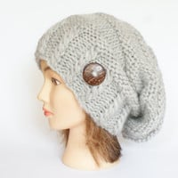 Slouchy beanie hat light gray slouch hats beanies chunky knitted hat irish handknit hats grey wool beanie women accessory button