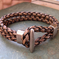 Men's Brown  Leather braided Cuff Bracelet, Leather Wrist Band Wristband Handcrafted Jewelry