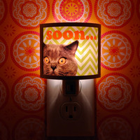SOON cat attack the day Do It Yo Cute Nursery Bathroom hallway Bedroom GET IT nightlight Nite Lite