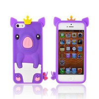 Apple iPhone 5 Silicone Case - Purple Royal Piglet