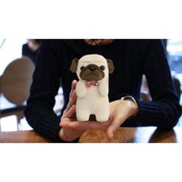 Brown/ Beige Pug w/ Red Bowtie OEM Goda MyPetCase Plush Snap On Case w/ Stand for iPhone 5