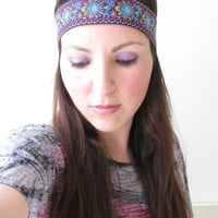 Boho headband, purple, light blue, gold, Indian print, Floral print