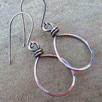 Copper Earrings, Hoops, Hammered Copper Jewelry, Sterling Silver Ear Wires