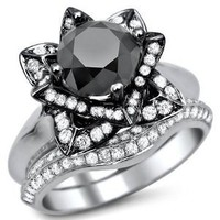 2.75ct Black Diamond Lotus Flower Engagement Ring Band Set 14K White Black Gold With A 1.80ct Center Diamond and .95ct of Surrounding Diamonds