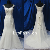 A Line Straps Sweetheart Court Train Chiffon with Lace Vintage Wedding Dresses, Bridal Gown, Beach Wedding Dresses