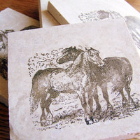 coasters, rustic, natural stone, tumbled tile, horses, set of 4 -