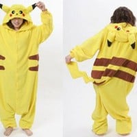 "COS365 Pokemon Pikachu Kigurumi Pajamas Adult Anime Cosplay Halloween Costume ,size M (64""-68"")"