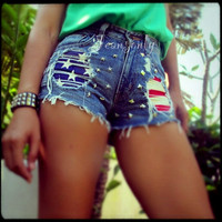 High waisted American flag studded denim shorts by by Jeansonly