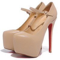 Christian Louboutin Lady Daf 160mm Mary Jane Pumps Leather Nude