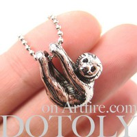 Realistic Baby Sloth Animal Charm Necklace in Shiny Silver