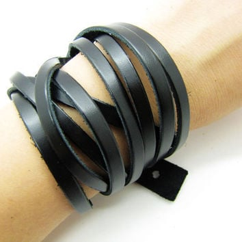black leather woven women Jewelry bangle cuff bracelet  friendship gift 998A