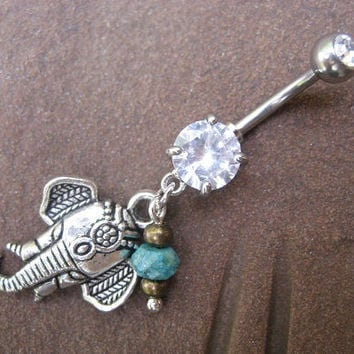Elephant Belly Button Ring- Turquoise Charm Dangle Navel Piercing Bar Jewelry Barbell