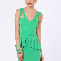 Steal the Show Mint Green Peplum Dress
