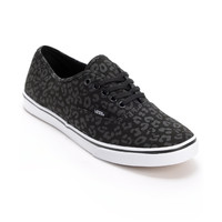 Vans Girls Authentic Lo Pro Black Leopard Print Shoe