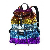 Victoria Secret Pink BackPack Schoolbag Rainbow Sequin PINK Limited Edition