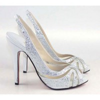 Silver Satin Diamond High Heel Sandals [TQL120305031] - $62.49 : wedding fashion, wedding dress, bridal dresses, wedding shoes